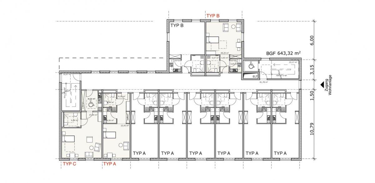 betreutes wohnen jenfelder au k2b architekten. Black Bedroom Furniture Sets. Home Design Ideas